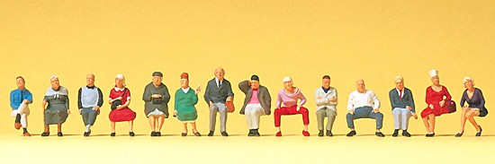 Sitzende Reisende. 12 Figuren