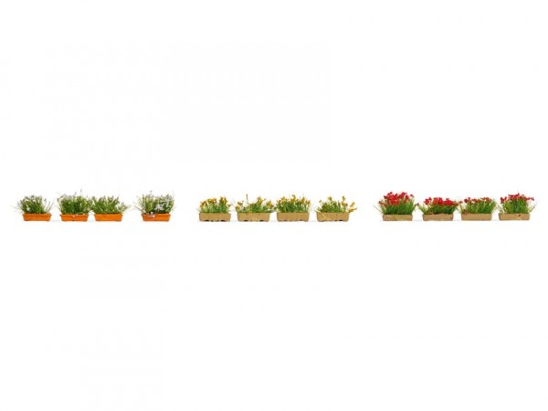 H0-Blumenkästen blühend, rot, weiß, grün