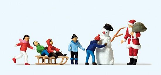H0-Weihnachtsmann, Kinder,mit Schneemann