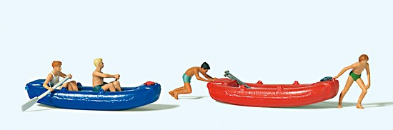 H0-Jugendliche mit Booten