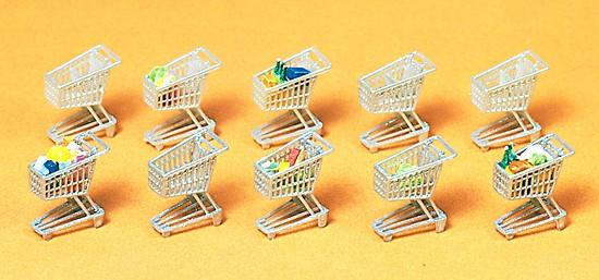 Einkaufswagen, 10 Stück mit Waren