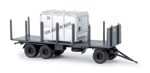 Anhänger 3achs Rungen, DB, mit Container