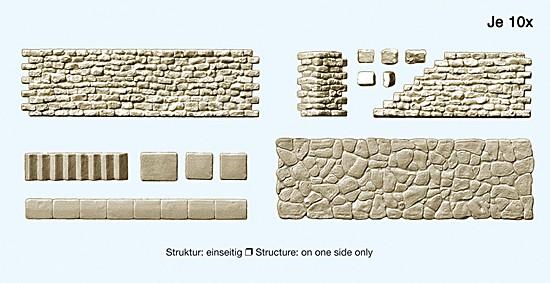 H0-Gehweg und Bruchsteinmauer: 10 teilig