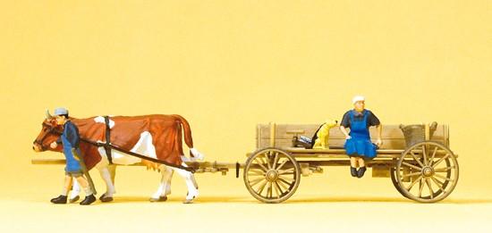 Bauernwagen. 2 Bauersleute, mit 2 Kühen