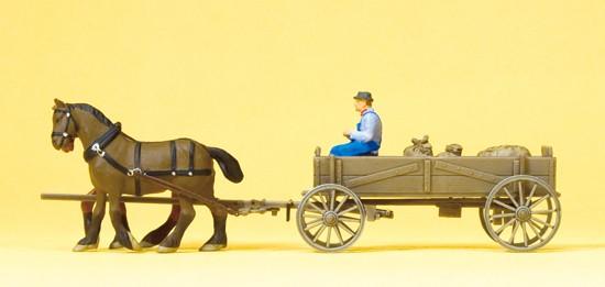 Kastenwagen. Bauer, 2 Pferde,