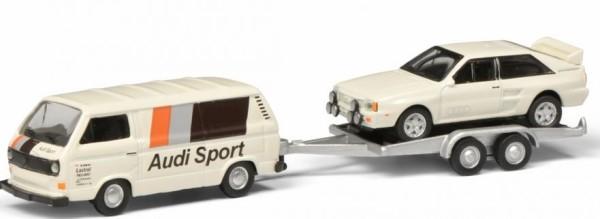 1:87-VW T3c AUDI SPORT mit Anhänger