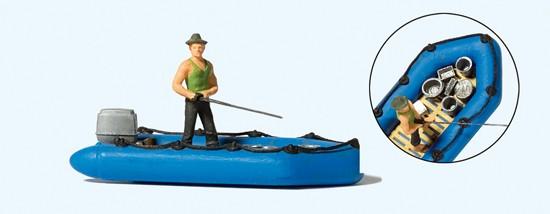 Angler im Schlauchboot