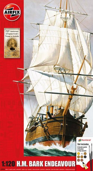 1:120 Endeavour Bark and Captain Cook