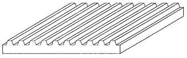 Wellblech gefalzt, 1x150x300 mm, 1 Stück