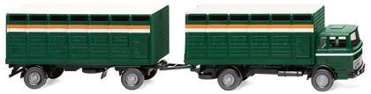 Viehtransporthängerzug (MB) - moosgrün